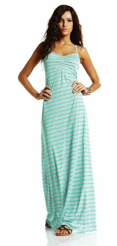 Vitamin A Silver 2013 Erica Long Mint Green Maxi Dress: Clothing