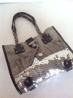 Imoshion Bag Purse Denim Jeans Sequince Chain Studs Black Leather Look Hip Chic #IMOSHION #Hobo