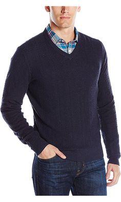 Original Penguin Men's Speckle Herringbone V-Neck Sweater, Dark Sapphire, Large Best Price