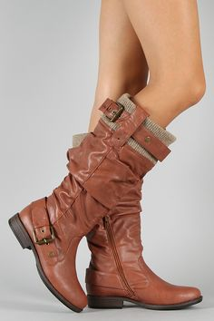 Bamboo Montage-14 Buckle Sweater Slouchy Riding Knee High Boot $36.20