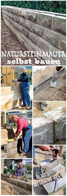 Vom Fundament bis zum Bearbeiten der Steine: Wir zeigen, wie man eine Mauer aus Natursteinen für den Garten selbst baut.