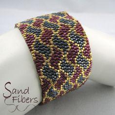 Peyote Pattern Ribbon Play Peyote Cuff / Bracelet by SandFibers