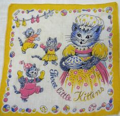 "Vintage Child's ""Three Little Kittens"" Handkerchief"