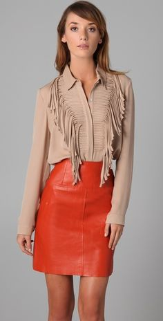 Sachin + Babi - Dixie Long Sleeve Fringe Top & Curtis Leather Skirt