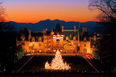 "♥ The Biltmore House at Christmas 2015 - Asheville, NC (Daytime) Nov. 6, 2015–Jan. 10, 2016, (Candlelight Evenings) Nov. 6, 2015–Jan. 2, 2016. The magical Christmas at Biltmore celebration includes 65 decorated Christmas trees in the house (including the fabulous 35-foot+ Fraser fir in the Banquet Hall), 1,000+ poinsettias, miles of garland and lights, live music and holiday demonstrations. This year's design theme, ""A Gilded Age Christmas"", is based on historic Vanderbilt family stories."
