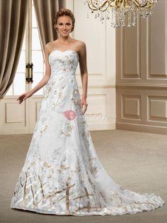 スイートハートコートコラムパターンウェディングドレス