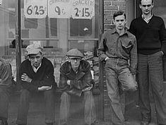 coal miners 1939 | Striking coal miners sitting on the boardwalk, during May 1939 coal ...