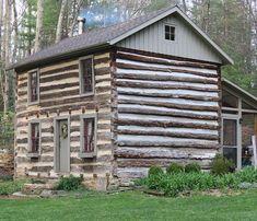 FARMHOUSE – vintage early american farmhouse built as a two story log cabin in virginia's blue ridge mountains.