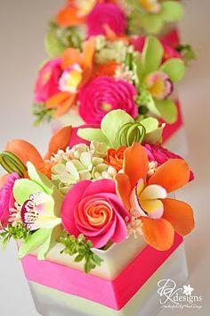 Hot pink, lime & orange - Tropical color combination.