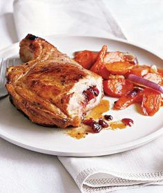 Stuffed Pork Chops With Roasted Carrots recipe