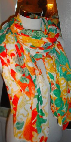 Naturally Inspired hand printed  leaf inspired scarf by WildeNature on Etsy