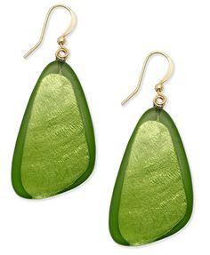 Style&co. Earrings, Gold-Tone Green Resin Shell Earrings