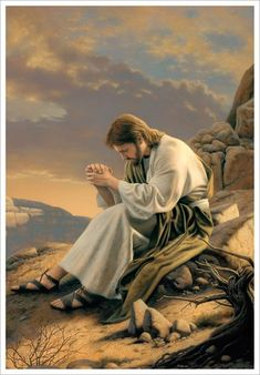 Images of Christ Collection: Detail of Jesus sitting on a rock praying in the wilderness. Pictures Of Jesus Christ, Religious Pictures, Bible Pictures, Religious Art, Group Pictures, Lds Art, Bible Art, Croix Christ, Image Jesus