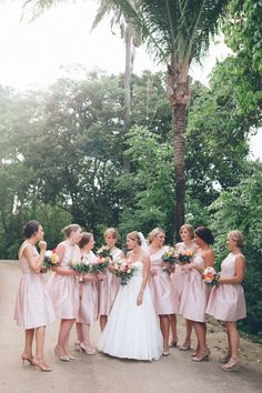 Blush pink bridesmaids in Alfred Sung Photography by Jillian Mitchell / jillianmitchell.net