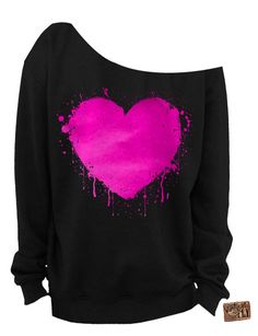 Ladies Heart Slouchy Valentines Day Sweatshirt. This is a Premium Unisex Fleece Sweat that is super soft and warm. It is made up off 50% Cotton and 50% Polyester. Available in Black and White with a Pink Foil Imprint. Sizing chart is located above as picture 3. This sweatshirt