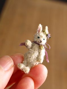 hand sewn bunny Cutest Bunny Ever, Pipe Cleaner Crafts, Dollhouse Dolls, Dollhouse Miniatures, Cute Teddy Bears, Candy Containers, Bear Doll, Tiny Treasures, Tiny Dolls