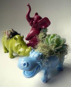 Animal Planter Trio - Mini Modern Art Centerpeices. $50.00, via Etsy.