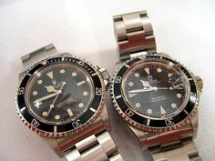My Plexi cousins. Rolex 5513, Rolex Submariner 5513, Tudor Submariner, Sport Watches, Cool Watches, Watches For Men, Vintage Rolex, Vintage Watches, Luxury Watches