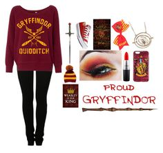 """""""Gryffindor"""" by happyh4ever ❤ liked on Polyvore featuring MM6 Maison Margiela, MAC Cosmetics and Converse"""