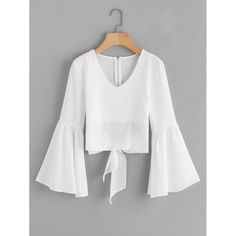 Shop Flare Sleeve Bow Tie Back Blouse online. SheIn offers Flare Sleeve Bow Tie Back Blouse & more to fit your fashionable needs. Teen Fashion Outfits, Trendy Outfits, Girl Outfits, Cute Outfits, Trendy Clothing, Blouse Styles, Blouse Designs, Spring Shirts, Crop Top Outfits
