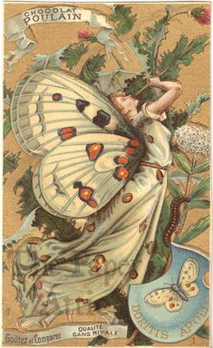 Butterfly Woman Fairy Antique Vintage French Embossed Chromo Trade Card | eBay