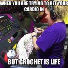 Cardio Crochet!! Take it to the gym and hop on the treadmill. You know you wanna.