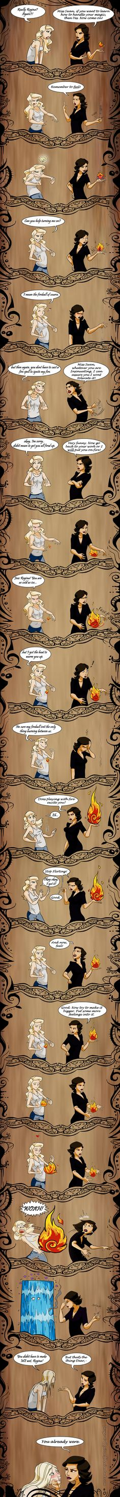 Girl, you are on FIRE! by Qaizor on deviantART I'm not a swan queen shipper, but it's cute...
