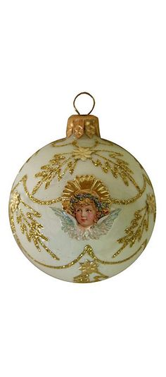 Pale yellow glittered Christmas ornament