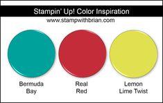 Stampin' Up! Color Inspiration: Bermuda Bay, Real Red, Lemon Lime Twist