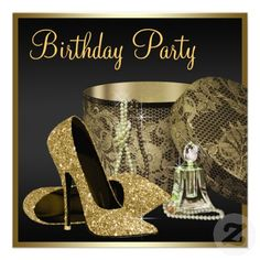 High Heel Shoes Womans Black And Gold Birthday Invitation