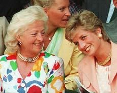 Diana and her mother Frances. Princess Michael in background.