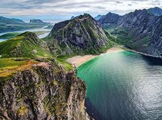 The awesome Ryten and Kvalvika Beach, Lofoten Islands, Norway.