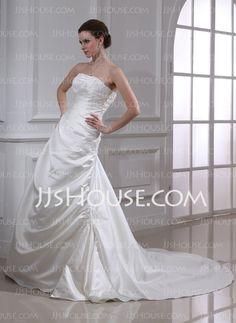A-Line/Princess Strapless Chapel Train Satin Wedding Dress With Ruffle Lace Beadwork (002000449)