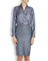 Max mara Smoke Grey Silk And Tweed Dress in Gray (smoke)   Lyst
