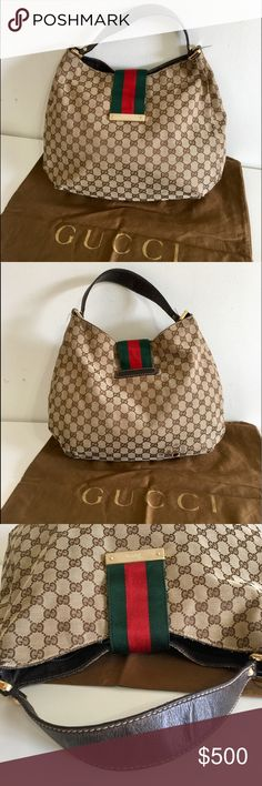 f43087eb26d Authentic large Gucci brown canvas bag Authentic GUCCI large shoulder bag.  Made in Italy.