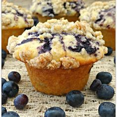 Blueberry Swirl Muffins with Cinnamon Brown Sugar Streusel