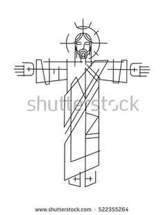 Vector illustration or drawing of Jesus Christ in a minimalist style - buy this stock vector on Shutterstock & find other images. Jesus Christ Drawing, Jesus Drawings, Jesus Art, Christian Drawings, Christian Art, Religious Images, Religious Art, Santas Tattoo, Christ Tattoo