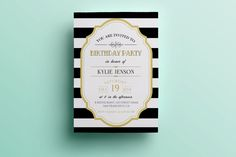 Retro birthday invitation template, elegant birthday invitation design printable birthday invitation instant download premade custom invite by designedbyanna on Etsy https://www.etsy.com/listing/223766463/retro-birthday-invitation-template