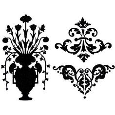 Flower Urn and Scrolls Black White Silhouette Wall Stickers