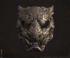 ArtStation - Melita's Tiger mask, Zhelong XU Sculptures Céramiques, Lion Sculpture, Chinese Armor, Oni Mask, Tiger Mask, Arte Obscura, Fu Dog, Cool Masks, Little Poney