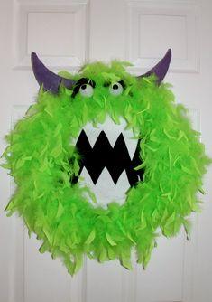 Lime Green Monster Wreath Door Hanger Monster by DixielandDlights Halloween Movie Night, Halloween Dinner, Halloween Crafts, Halloween Wreaths, Halloween 2020, Halloween Ideas, Green Monsters, Monster Wreath, Monsters