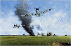 Manston, 12th August 1940 by Gerald Coulson  A German raid catches the airfield at Manston by surprise, and Spitfires are scrambled in the m...