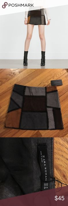 Zara leather patchwork skirt New with tag, beautiful skirt. Zara Skirts Mini