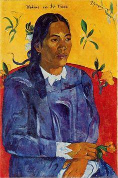 Woman with a Flower, 1891, oil on canvas, 70 x 46 cm. Ny Carlsberg Glyptotek, Copenhagen, Denmark. Cloisonnism, 1st Tahiti period, Paul Gauguin (1848-1903).