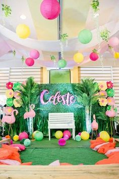 Flamingo Lounge from a Fabulous Flamingo Birthday Party on Kara's Party Ideas | KarasPartyIdeas.com (11)