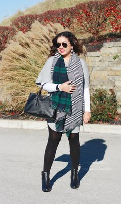@preetichaulk in her cool fall outfit featuring grey t-shirt dress and reversible scarf. Get her scarf here http://www.lookbookstore.co/products/green-plaid-reversible-shawl #LBSDaily