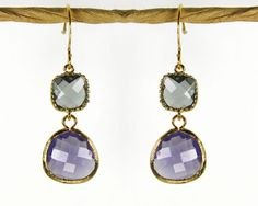 SALE Angles and dangles. A Square and a teardrop, sparkly earrings, gold framed charcoal & amethyst purple faceted gems