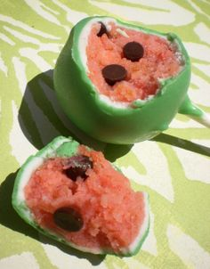 Watermelon cake pops. Going to try these, except with cake batter truffles instead!
