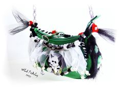 SALE   Yo Ho Ho and the Purse of the Sailing Birds     Green faux leather Pirate purse by WiLd PeArLy.