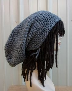 Rasta super long gray or other color custom snood tam dreadlock rasta dread tam extreme slouchy hat